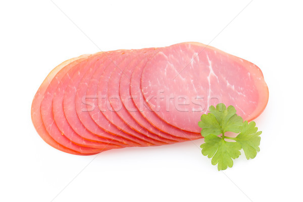 Pork ham slices isolated on white background. Stock photo © gitusik