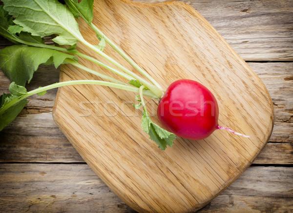Radijs houten tafel tabel plant eten achtergronden Stockfoto © gitusik