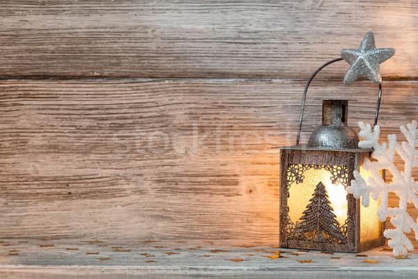 ランタン クリスマス 装飾 木製 ツリー 木材 ストックフォト © gitusik