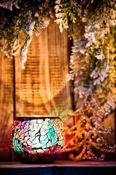 Candeliere Natale legno ornamento albero luce Foto d'archivio © gitusik