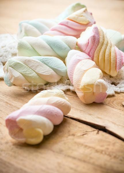 マシュマロ キャンディ 木製 グループ 食べ 背景 ストックフォト © gitusik