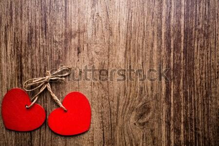 Сток-фото: Vintage · сердце · стиль · древесины · стены