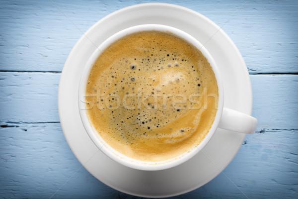 Kawy filiżankę kawy drewniany stół drewna ciemne kubek Zdjęcia stock © gitusik