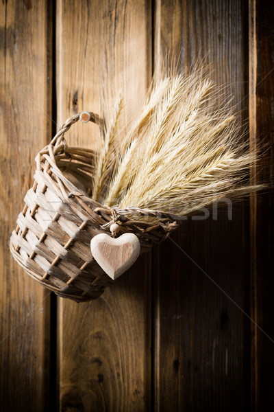Koszyka żyto ściany studio Fotografia Zdjęcia stock © gitusik