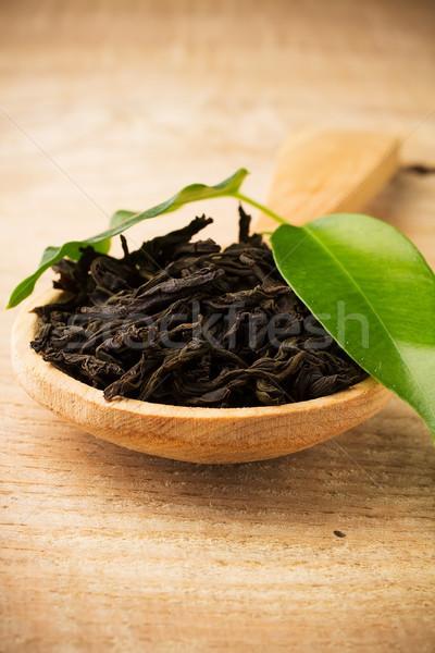 黒 茶 緑色の葉 木材 表面 ストックフォト © gitusik