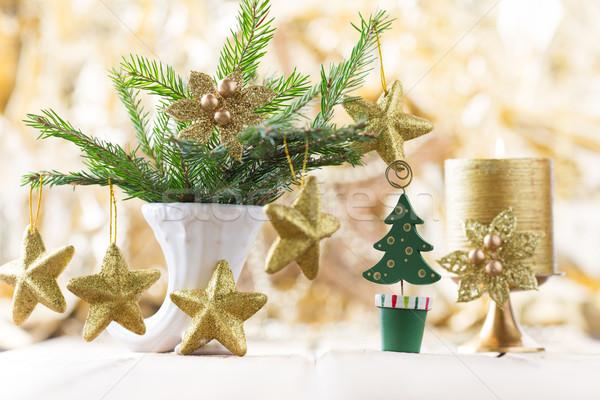 Foto stock: Natal · decoração · fundos · fogo · casa