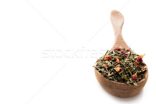Zöld tea rózsa virágok természet levél csoport Stock fotó © gitusik
