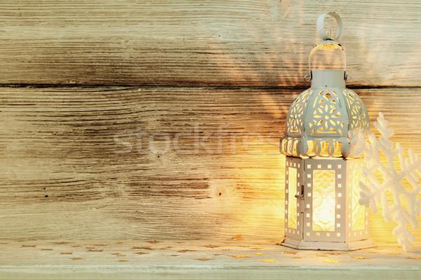фонарь Рождества дерево древесины Сток-фото © gitusik