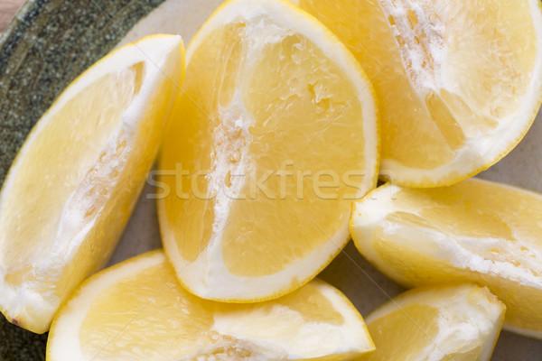 Geel grapefruit plakje plaat kruis vruchten Stockfoto © gitusik
