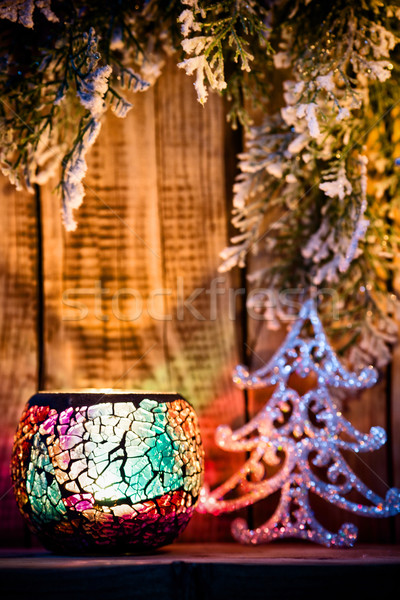 Foto d'archivio: Candeliere · Natale · legno · ornamento · albero · luce