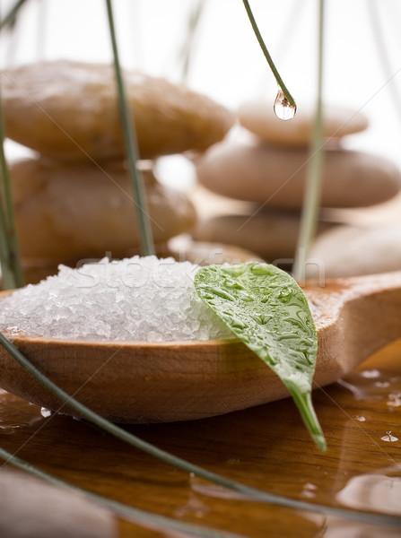 Deniz tuzu yeşil yaprak spa taşlar damla Stok fotoğraf © gitusik