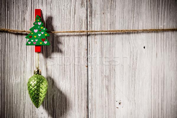 Karácsony szeg fa deszka dísz fa absztrakt Stock fotó © gitusik