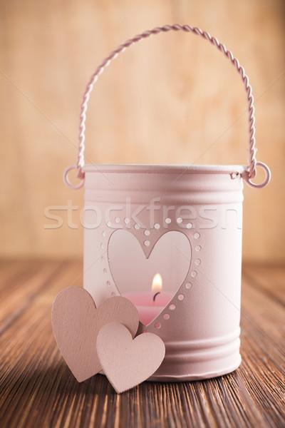 Rosa candeliere a forma di cuore fuoco amore arte Foto d'archivio © gitusik