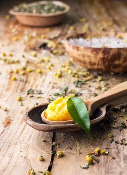 Homeopáticos medicina manga corpo manteiga sal do mar Foto stock © gitusik