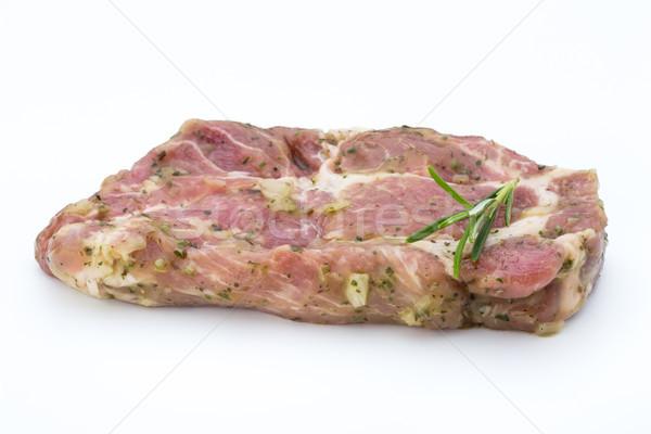 Disznóhús kotlett marinált izolált fehér háttér Stock fotó © gitusik