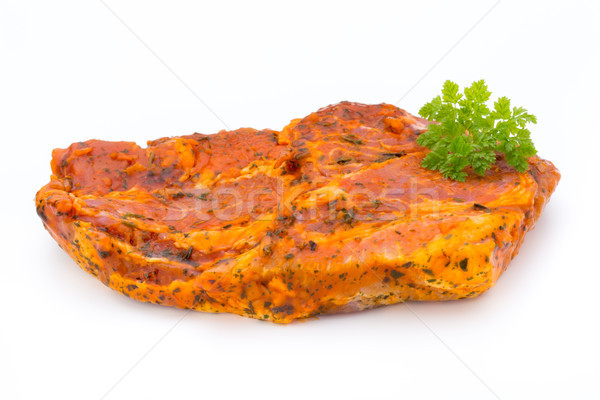 Pork chop, marinated. Isolated on the white background. Stock photo © gitusik