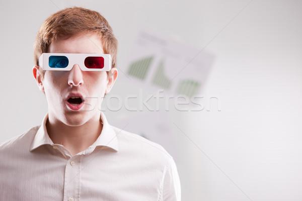 Foto stock: 3D · futuro · fantástico · hombre · gafas · 3d · abierto