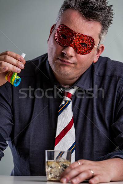 man pretending that drinking is fun Stock photo © Giulio_Fornasar