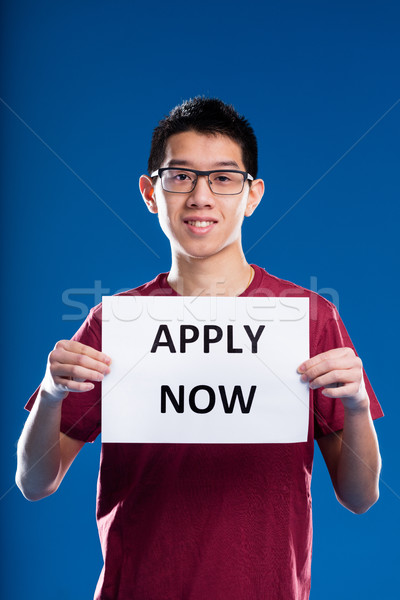 asian guy asking you to apply now Stock photo © Giulio_Fornasar