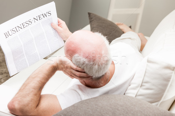 relaxed senior man reading business news Stock photo © Giulio_Fornasar