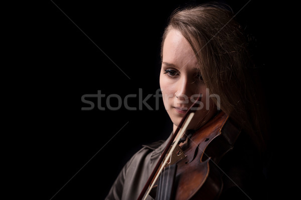 violinist woman portrait in black copyspace Stock photo © Giulio_Fornasar