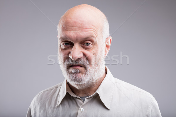 Oude kaal man teleurgesteld niet goede Stockfoto © Giulio_Fornasar