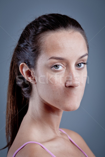 Stock photo: freedom of speech censorship on a woman