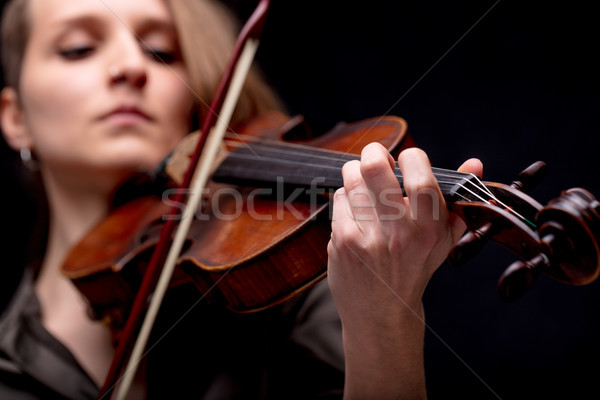hand closeup of a violinist on black Stock photo © Giulio_Fornasar