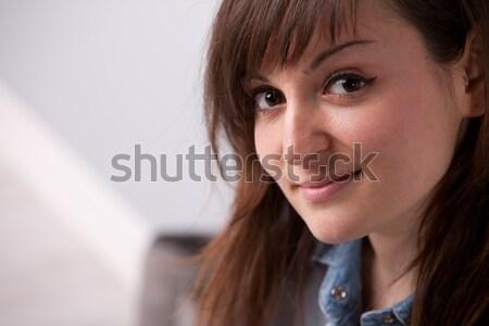 Szép nő mosolyog otthon bent jókedv mosolyog Stock fotó © Giulio_Fornasar