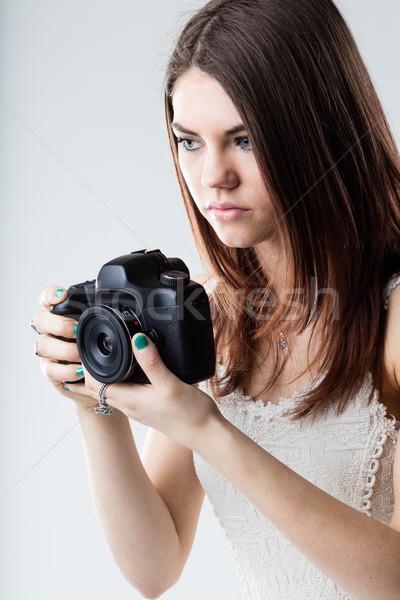 Mooi meisje reflex camera zwarte digitale Stockfoto © Giulio_Fornasar