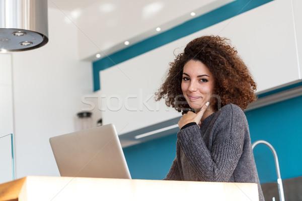 Bom sorrindo laptop sorrir bom Foto stock © Giulio_Fornasar