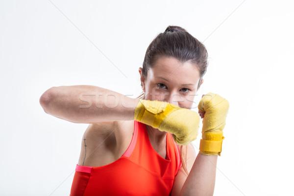 Vrouw oefenen vechtsporten fitness opleiding strijd Stockfoto © Giulio_Fornasar