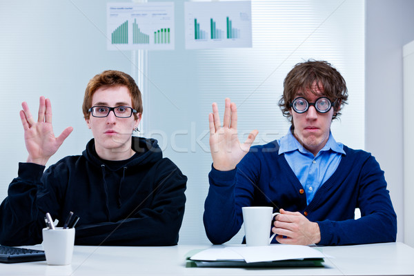 two very nerd brains office workers Stock photo © Giulio_Fornasar