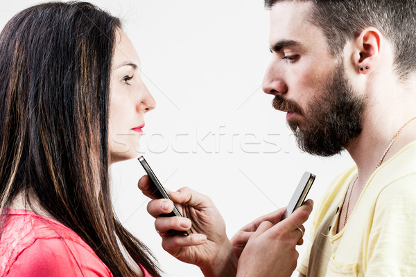 woman man and smart phones Stock photo © Giulio_Fornasar