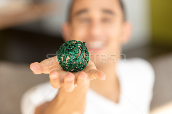 Green ball on palm Stock photo © Giulio_Fornasar