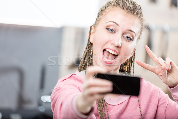 Stock photo: woman in video call with a friend
