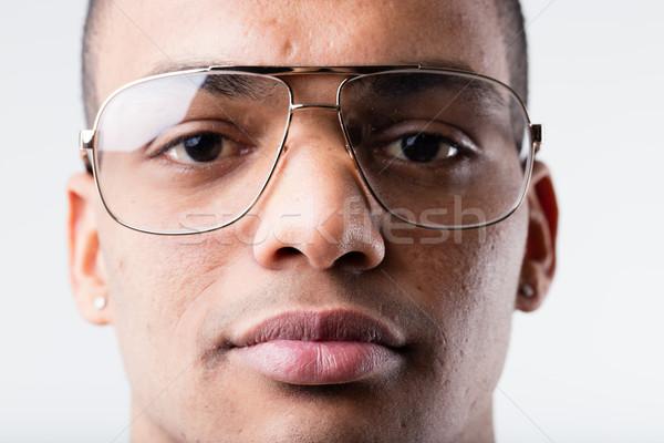 Zwarte man groot lelijk bril jonge man Stockfoto © Giulio_Fornasar
