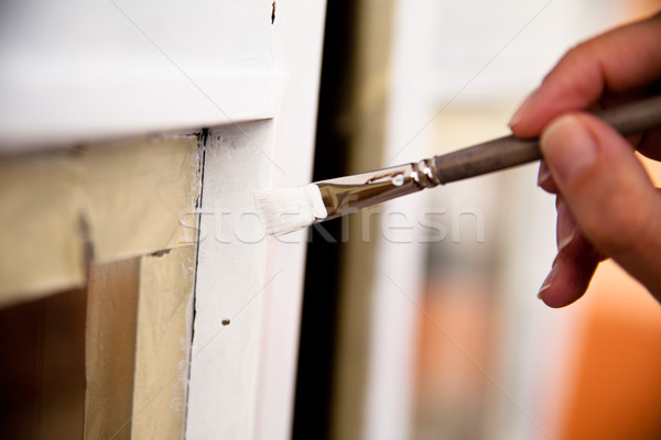 hands of a girl painting a window Stock photo © Giulio_Fornasar