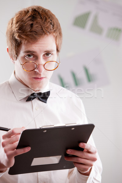 Stock fotó: Gondolkodik · csekk · szemüveg · néz · üzlet · pénz
