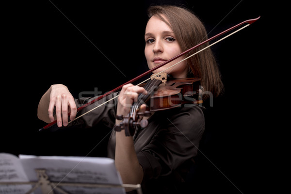 proud violinist woman with her violin and bow Stock photo © Giulio_Fornasar