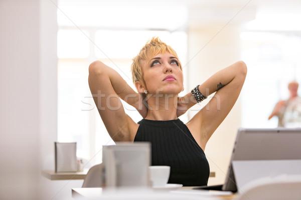 Belo mulher de negócios trabalhando café cansado mulher Foto stock © Giulio_Fornasar