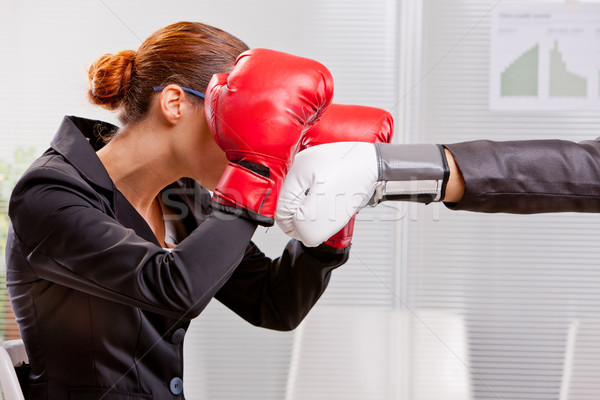 boxing business woman defending from a punch Stock photo © Giulio_Fornasar