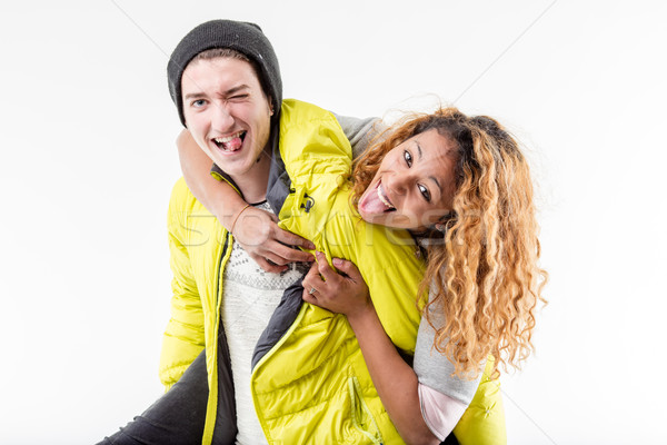 interracial couple of friends making faces Stock photo © Giulio_Fornasar
