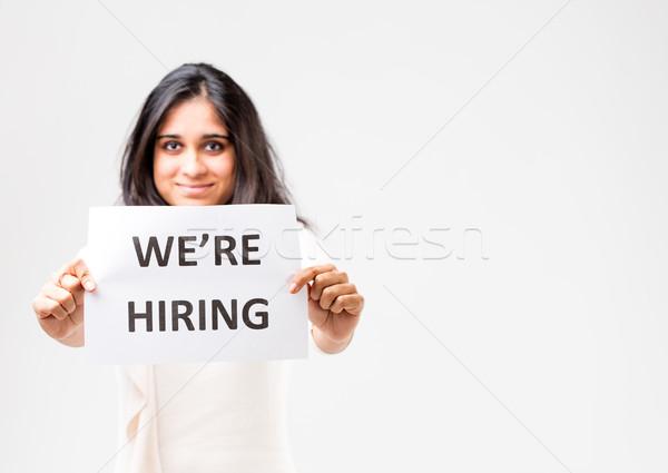 indian girl holding a hiring sign Stock photo © Giulio_Fornasar