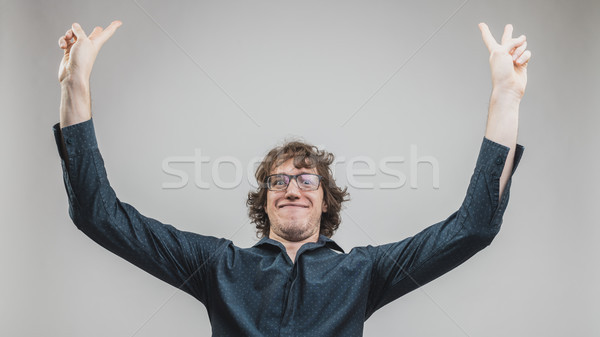 happy man exulting about success Stock photo © Giulio_Fornasar