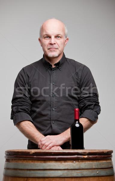Büszke bor férfi üveg kitűnő vörösbor Stock fotó © Giulio_Fornasar