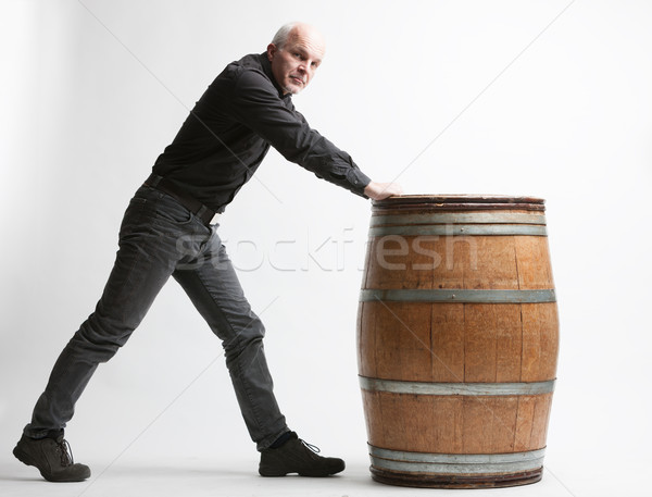 Man with wooden barrel Stock photo © Giulio_Fornasar