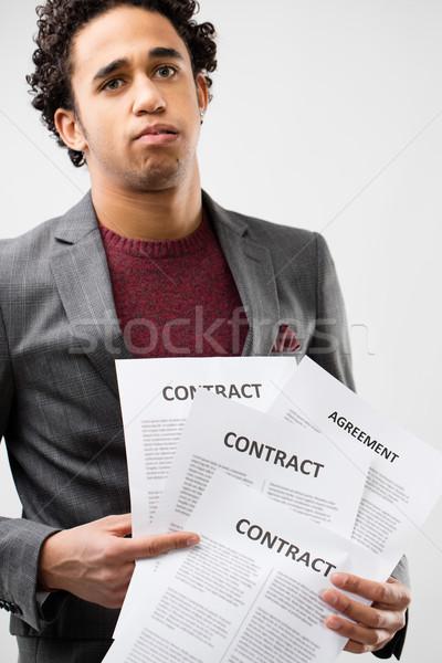 Młodych człowiek biznesu bałagan biurokracja biznesmen Zdjęcia stock © Giulio_Fornasar