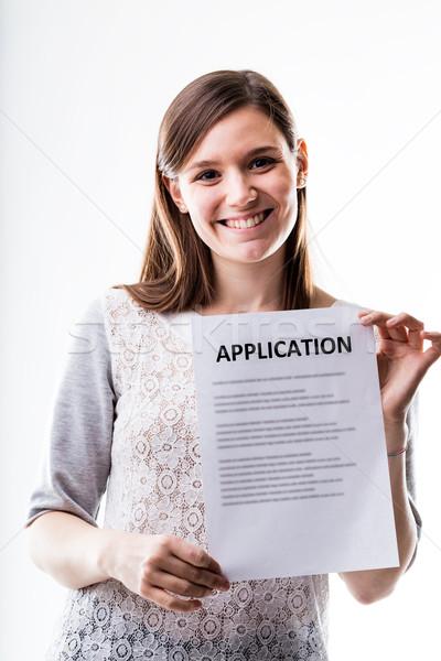 Photo stock: Portrait · jeune · femme · demande · femme · travaux · Emploi