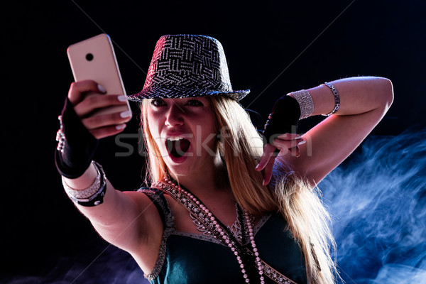 young woman living a live event online Stock photo © Giulio_Fornasar